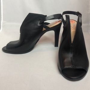 Vince Camuto Black Leather Strappy Peep Bootie